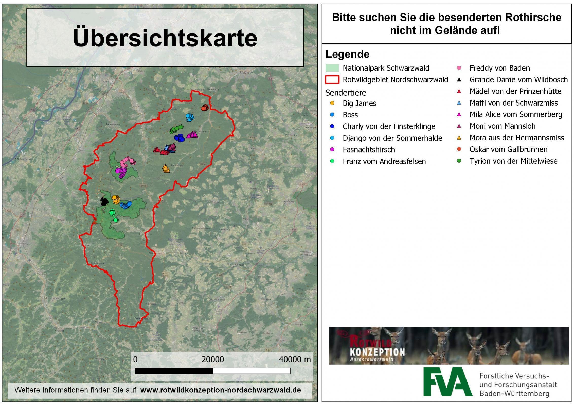 Nordschwarzwald Karte.Karten Sendertiere 2019 Teil 2 Rotwildkonzeption Nordschwarzwald